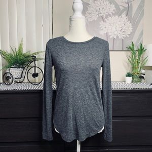 LOFT | Dark Gray Long Sleeve Ribbed Sweatshirt | S